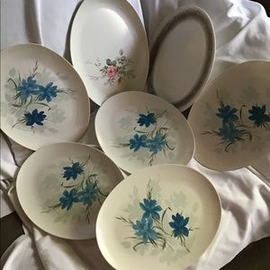 Oval White Plastic Platters White With Blue Floral